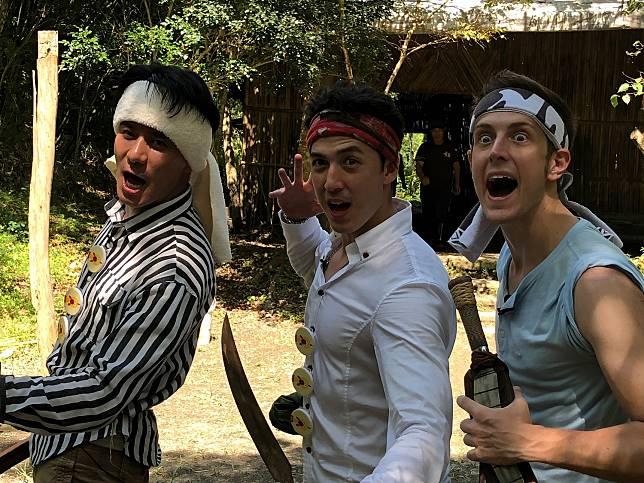 ▲郭彥均(左起)、舞陽及賈斯汀在花蓮體驗原住民文化。(圖/東森超視提供)